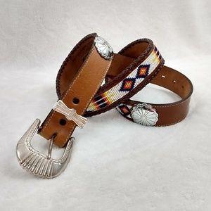 Nocona Western leather beaded belt